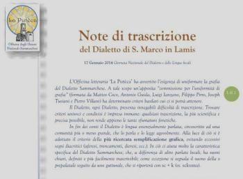 Adottate le 'Note di trascrizione' del Dialetto sammarchese