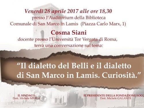 Cosma Siani conversa sul dialetto alla Fondazione Soccio
